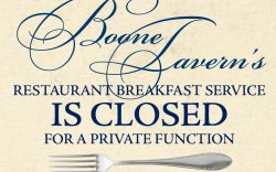 Dining Room Restaurant Closed for Breakfast